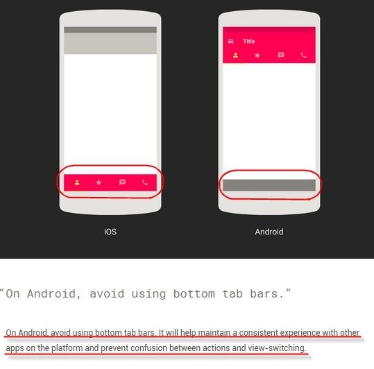 Google 之前对于底栏的设计规范